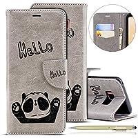 Herbests Handytasche für Samsung Galaxy S8 Plus Lederhülle Niedlich 3D Panda Muster Flip Case Cover Hülle Leder Klapphülle Leder Tasche im Bookstyle Handyhülle Brieftasche Schutzhülle,Grau