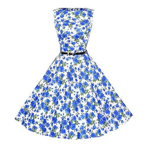 KPILP Frauen Cocktailkleider Vintage Bodycon Sleeveless Petticoat Lässige Retro Abend Party Prom Hochzeit Elegante Schaukel Rockabilly Kleid(G-blau,EU-44/CN-2XL