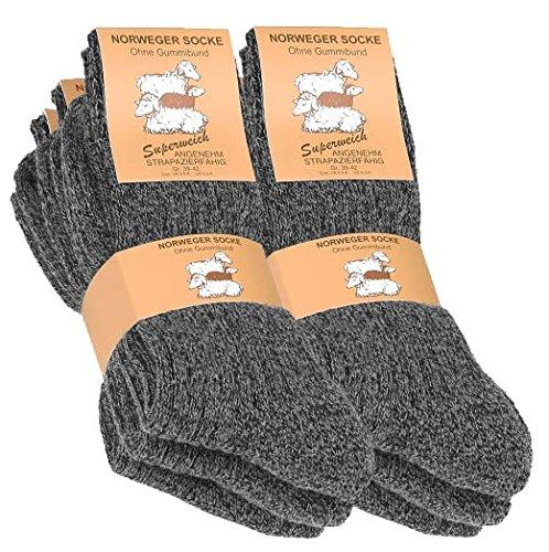Lot de 6 paires de chaussettes norvégiennes - épaisse - semelle molletonnée - gris chiné - taille 43/46