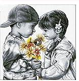 song710 Pintura Diamante 5D DIY El Niño Y La Niña Son Compañeros De Juego Inocentes Imitación De Diamantes De Imitación Mosaico Diamantes Bordado Decoración para El Hogar 40X50 Cm