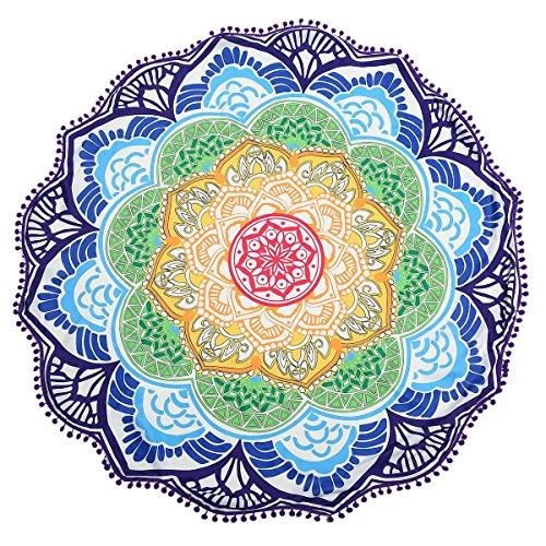 Jeteven Regenbogen Strandtuch Yoga Tuch boho, 7 Chakra Teppich Decke bunt, wandbehang Yoga Tapestry Tapisserie, Zigeuner Wandteppich mit Quasten Sonnenschutz Schal 135cm / 53.15 '' rund