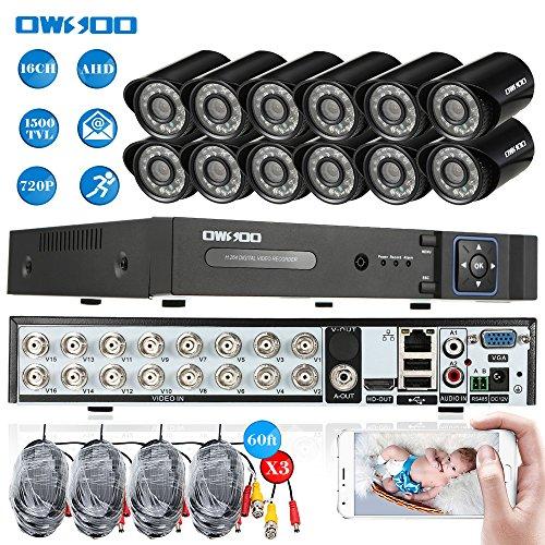 OWSOO 16CH Netzwerk Digitalrekorder + 12 * 720P 1500TVL AHD wasserdichte CCTV-Kamera + 12 * 60ft Überwachungskabel Unterstützung PTZ Android / iOS APP