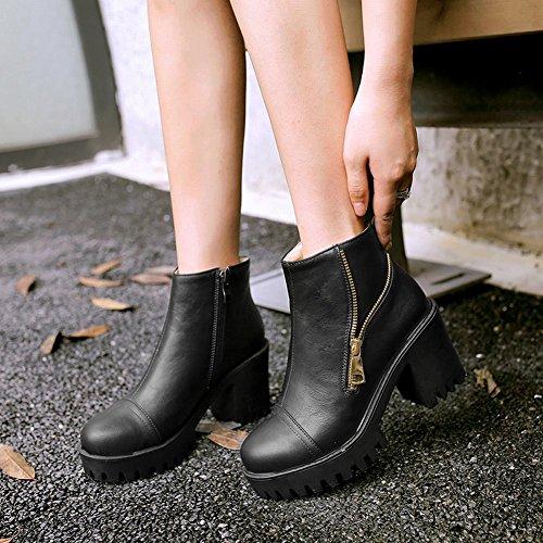 Mee Shoes Damen chunky heels Plateau runde kurzschaft Stiefel Schwarz