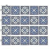 MTX Ltd Westlichen Stil Kreative Wanddekoration Selbstklebende Wasserdichte DIY Simulation Fliesen Aufkleber - Blau Weiß Schwarz Blumen Muster Wand 20 * 20 cm * 20 Stücke