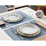 Luminarc Nordic Scandie - Vajilla, 18 piezas, color blanco, amarillo y azul