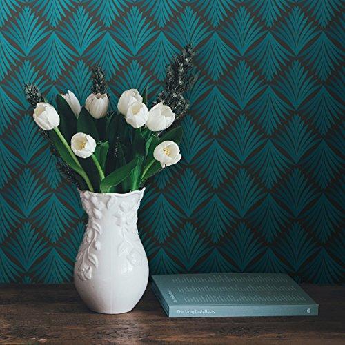 """klassische Tapete\""""Art Deco Akanthus\"""" mit Blatt Muster, grau türkis passt zu Scala Farben- Vlies Tapete Grafisch, extravagante üppige GMM Wand Dekoration für edle Wohnakzente (Muster 20 x 46,5cm)"""