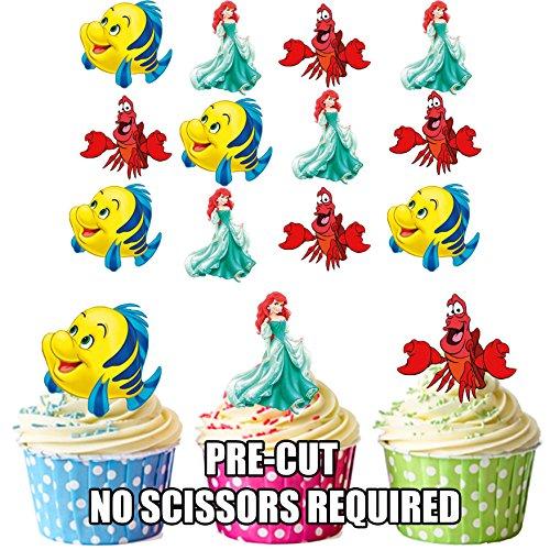 prédécoupés Disney Ariel/la petite sirène – comestible pour cupcakes/gâteau Décorations (lot de 12)