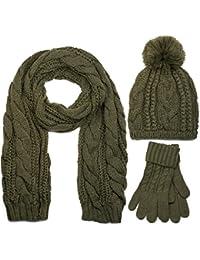 styleBREAKER Ensemble composé d une écharpe, d un bonnet et de gants,  écharpe loop avec motif tricoté,… ce82e1b487b
