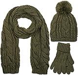 styleBREAKER Schal, Mütze und Handschuh Set, Zopfmuster Strickschal mit Bommelmütze und Handschuhe, Damen 01018208, Farbe::Oliv / Schal (One Size)
