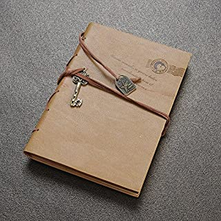 Aitao Retro Vintage Journal Notepad String Key Classic Leather Bound Notebook Khaki