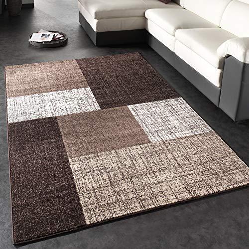 Paco Home Designer Teppich Modern Kariert Kurzflor Teppich Design Meliert In Braun Creme, Grösse:230x320 cm
