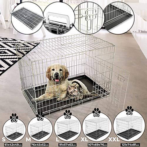 Leopet Transportkäfig - in Größenwahl S-XXL, faltbar, zusammenklappbar, aus Metall, mit 2 Türen - Hundekäfig, Transportbox, Hundetransportbox, Hundebox, Reisebox