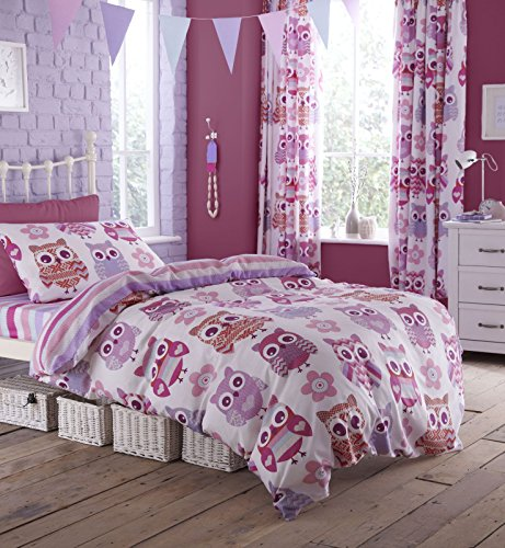 Catherine Lansfield Owl Easy Care Double Duvet Set Multi