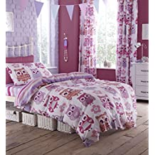 Catherine lansfield Small 60 Percent Cotton/ 40 Percent Polyester Owl Single Duvet Set, Pink