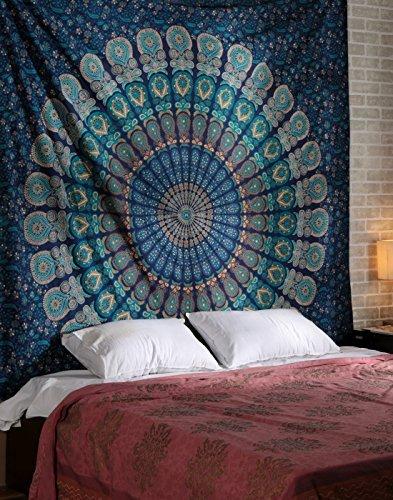 Mandala Wandbehang Baumwolle Wohnzimmer Wandteppich Groß Tapisserie Blau Tapestry Floral Von Rajrang