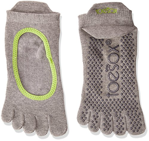 ToeSox Bella donna calzini dita biologico cotone da davanti per aperti sul con Grey 1paio yoga Calzini Lime in qqdtr