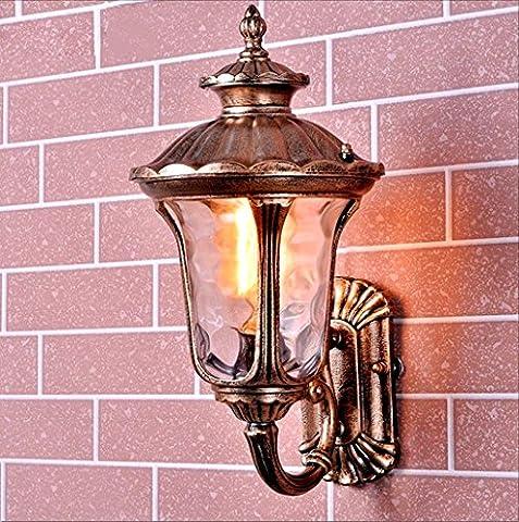Outdoor Waterproof Wall Lamp Lantern Classic Wall Light E27 European Style Retro Antique Aged Metal Brass Garden Hall Balcony