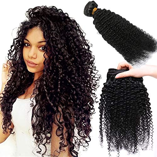 40cm Extension Matassa Capelli Veri Ricci Tessitura 1 bundle 100g Unprocessed 16 pollici Estensioni Kinky Curly Brazilian Virgin Human Hair Lunghi Nero Naturale 1B#