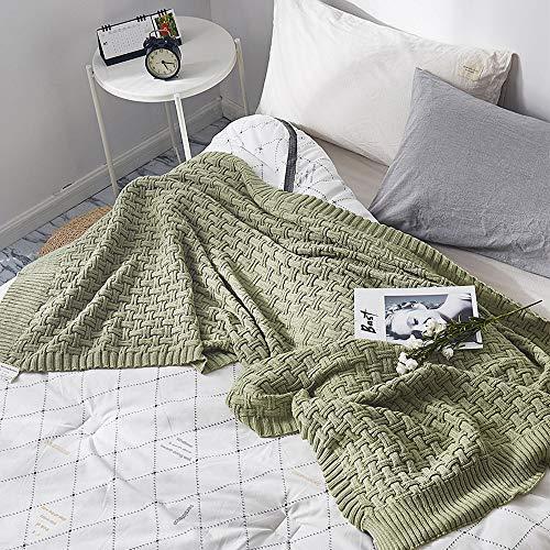 gestrickte Decke für Sofa Sofa Bett, leichte, weiche und gemütliche atmungsaktive Baumwolle wirft - Matcha grün