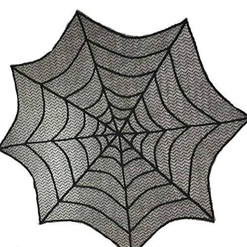 GOMYIE Runde Spitze Tisch Topper Black Spider Halloween Spitze Tisch Topper Tuch Für Halloween Dekorationen Scary Movie Nights Party (schwarz)