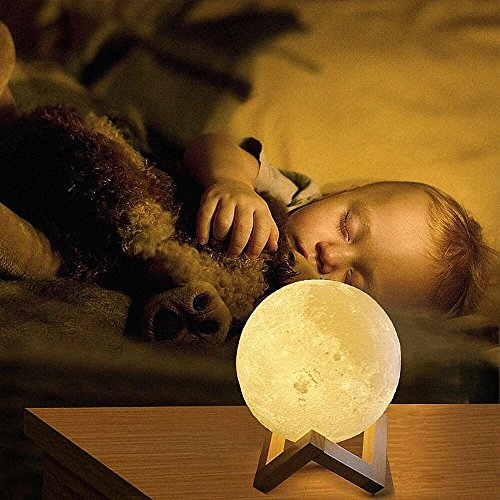 3D Moon Lamp,USB LED Night Light Magical Lunar Table Lamp Moonlight Gift Two Tone Touch Sensor with Wooden Holder & Portable Box(10cm/3.94inch)