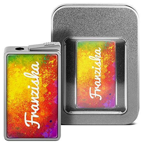 Feuerzeug mit Namen Franziska - personalisiertes Gasfeuerzeug mit Design Color Paint - inkl. Metall-Geschenk-Box