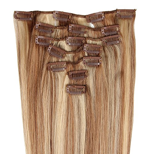 Extensions de cheveux humains à clip 100% Remy Hair 27/613# Couleur blond clair/Blond très clair Longueur 38 cm Poids 70 grams