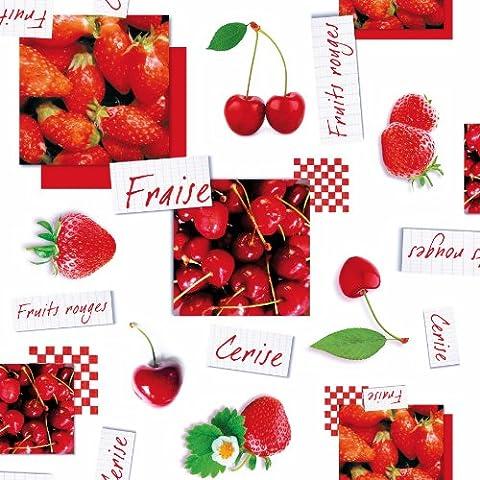 Wachstuch Breite & Länge wählbar - dcfix Erdbeere Kirschen Weiss Rot 3854572 - ECKIG 140 x 320 bzw. 320x140 cm abwaschbare Tischdecke Wachstücher Gartentischdecke