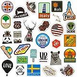 Chileeany Lot de 43 Rétro Vintage Stickers Valise Autocollants pour Valise Voyage Skateboard Guitare(World Tour)