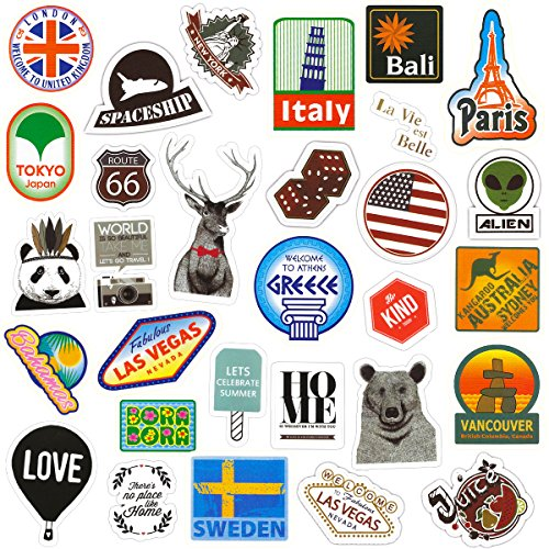 Chileeany 43 Pezzi - Adesivi Valigia, Retro Vintage Stickers per Valigia, Skateboard, Chitarra (World Tour)