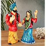 Tied Ribbons Punjabi Couple Bhangra Dancing Resin Showpiece (10.01 cm x 10.01 cm x 26.01 cm)
