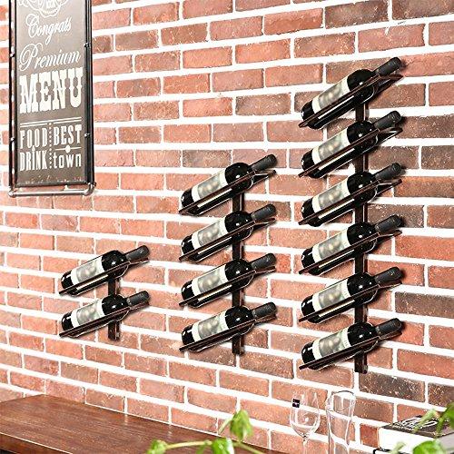 TUNBG Wandbehang weinregal Einfache Moderne Kunst Flasche Display Rack Continental, 2 Bottles, Black