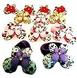 12élastiques de cheveux multicolore motif papillons et fleurs (tissu) avec brillant (robe) (4x 3cm) haute qualité