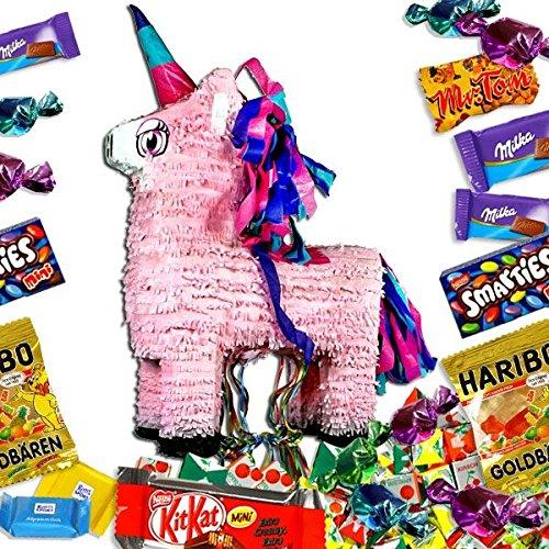 Einhorn-Pullpinata mit Süßigkeiten im Set, Zubehör f.Spiele zum Kindergeburtstag (Bändchen Teilnehmer)