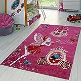 Kinder Teppich Für Mädchen Kinderzimmer Mit Prinzessin Zauberfee In Pink Fuchsia, Größe:120x170 cm