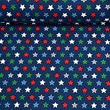MAGAM-Stoffe Warm Stars Jersey Stoff Oeko-Tex Meterware 50cm (3. Bunt auf dunkelblau)