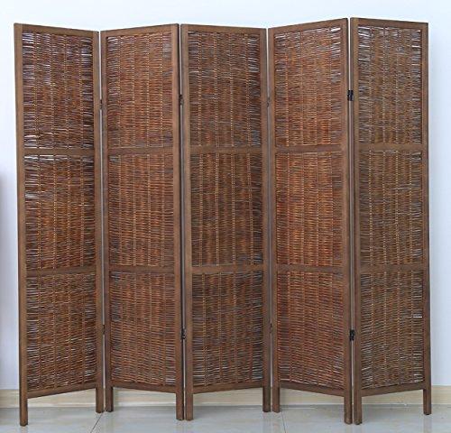 PEGANE Biombo de Madera y Mimbre de 5 Paneles, Color marrón - Dim : A
