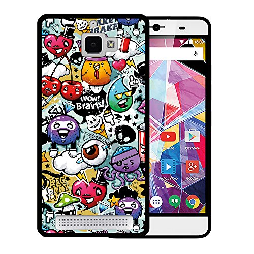 Archos Diamond Plus Hülle, WoowCase Handyhülle Silikon für [ Archos Diamond Plus ] Graffiti Funny Farben Handytasche Handy Cover Case Schutzhülle Flexible TPU - Schwarz