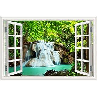Asenart Forest Pool Wasserfall 3D Wandtattoo Home Decor Natur Landschaft Wandsticker Vinyl Tapete, W0837, 24