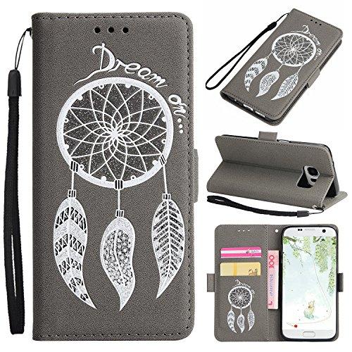 Galaxy S7 Lederhülle, ZXK CO Traumfänger Prägung Brieftasche Hülle PU Leder Flip Case Handyhülle im Bookstyle mit Magnet Standfunktion Kartenfach Lanyard Strap Schutzhülle für Samsung Galaxy S7 - Grau