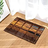 Tropical Seaside Decor 3D Visualisation de la terrasse en bois View Sunset tapis de bain pour salle de bain anti-dérapant Floorways Tapis de porte d'entrée d'intérieur extérieur tapis de bain pour enfants 60X40CM
