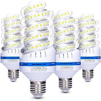4 Pack Bombillas LED E27 OSAYES, 20W Bombillas equivalente a 150 W, Espiral Bombilla