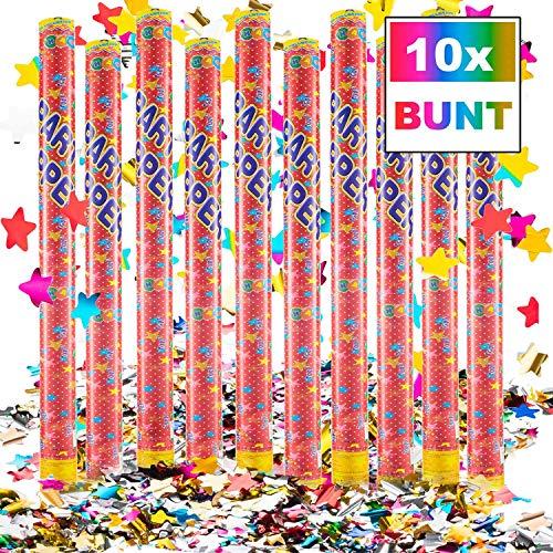 Goods & Gadgets Konfetti-Kanone Konfetti-Shooter Party Popper Konfettikanone - XXL 100 cm Bunt - 10 Set