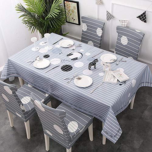 SUNMINGY Gestreifte Tischdecke Aus Baumwolle Und Leinen, Wasserdicht Und Ölbeständig@Eis Kleben_140 * 210 Cm -