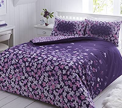 Pieridae Scattered Purple Floral Duvet Cover Pillowcase Set Bedding Quilt Single Double King - low-cost UK light store.