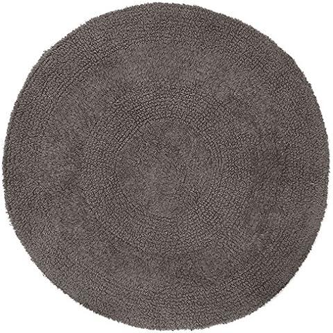 Just Contempo–Alfombra de baño de algodón redonda, color morado, algodón, gris, 60 cm