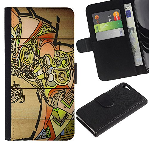 Graphic4You Vintage Retro Art Texture Muster Design Brieftasche Leder Hülle Case Schutzhülle für Apple iPhone SE / 5 / 5S Design #19
