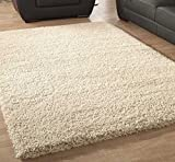 FB FunkyBuys® Large Small Modern Soft Touch Shaggy Thick Luxurious 5cm Dense Pile Bedroom Rug - Available in 12 Vibrant Colors & 4 Sizes (Cream, 66 x 110 cm)