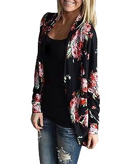 700c308226d3e9 StyleDome Damen Lose Boho Unregelmäßige Strickjacken Langarm Floral Wrap  Cardigan Coverup Parka Kimonos Outwear
