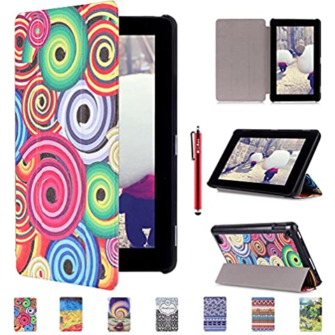 Kindle Fire 7 2015 custodia , custodiaforyou® Wallet Flip Magnet Stand Leather custodia Cover for Kindle Fire 7 2015 , Vortexs